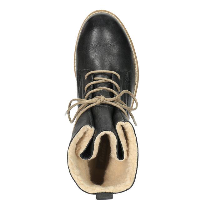 Ocieplane botki ze skóry bata, czarny, 594-6610 - 19