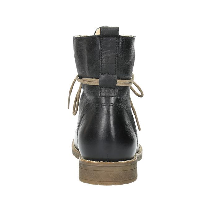 Ocieplane botki ze skóry bata, czarny, 594-6610 - 17