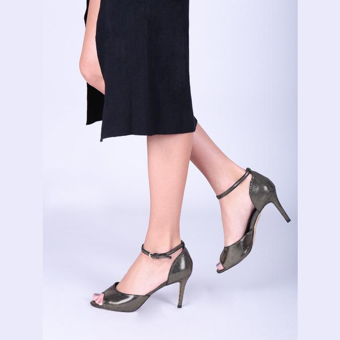 Sandały na szpilce, ze złotymi refleksami bata, czarny, 729-8630 - 18
