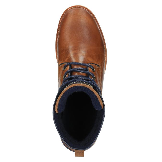 Skórzane buty za kostkę, zpodeszwą wnieformalnym stylu bata, brązowy, 894-3660 - 19
