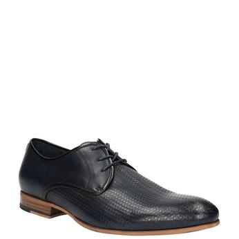 Skórzane półbuty z fakturą bata, niebieski, 826-9813 - 13