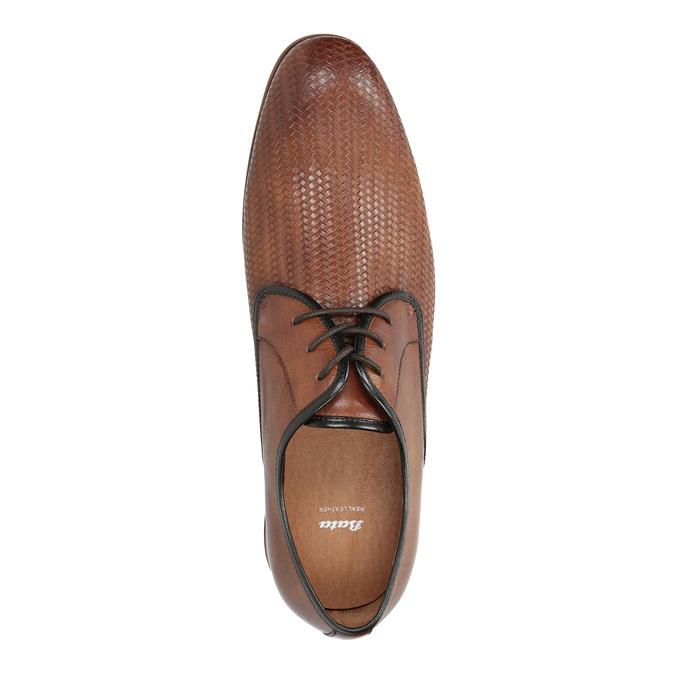 Skórzane półbuty z fakturą bata, brązowy, 826-3813 - 19