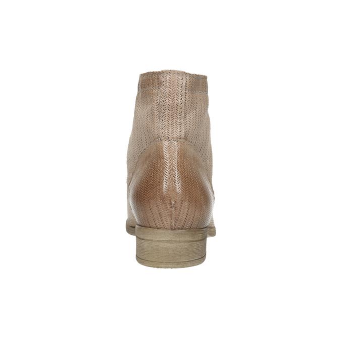 Skórzane botki zperforowanym wzorem bata, brązowy, 596-4646 - 17