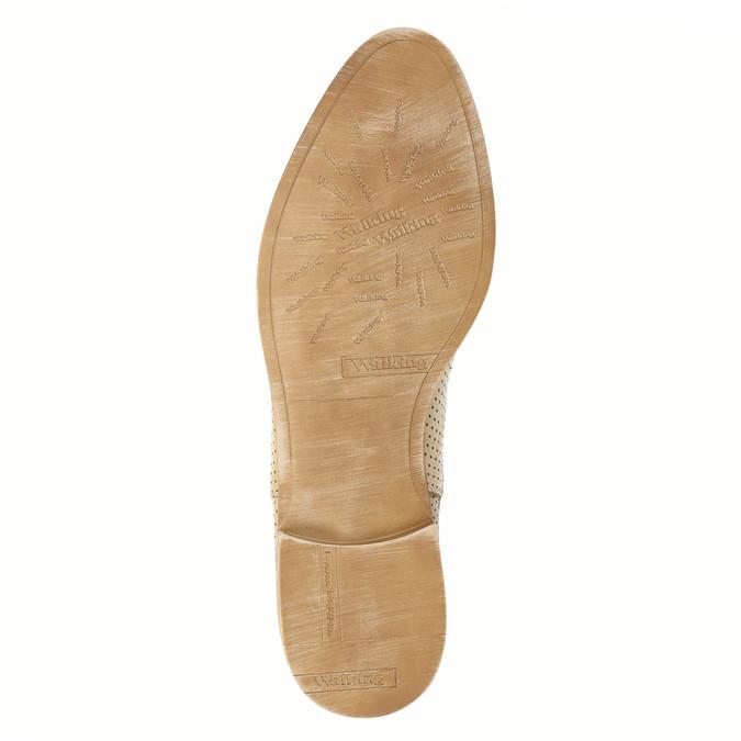 Skórzane botki typu chelsea zperforacją bata, beżowy, 596-3651 - 26