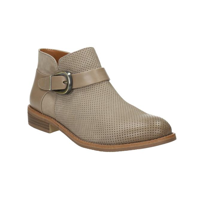 Skórzane botki zklamrami bata, brązowy, 596-3634 - 13