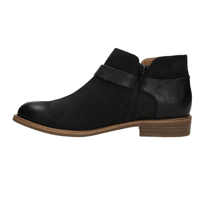 Skórzane botki zklamrami bata, czarny, 596-6634 - 26