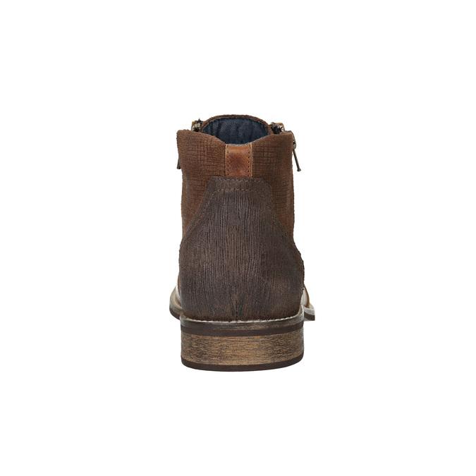 Skórzane buty za kostkę zzamkami błyskawicznymi bata, brązowy, 894-3684 - 17