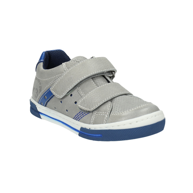 Skórzane dziecięce buty sportowe na rzepy mini-b, szary, 214-2600 - 13