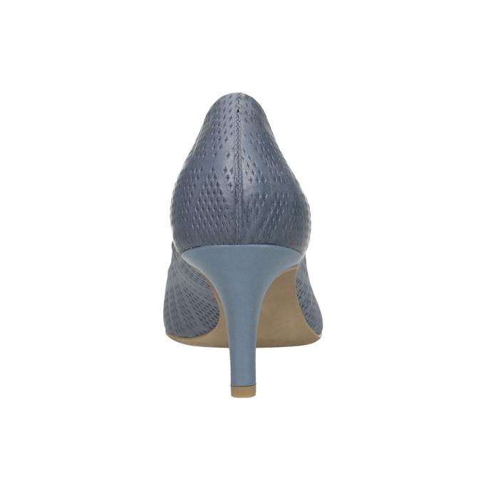 Skórzane czółenka z perforacją pillow-padding, niebieski, 626-9636 - 17