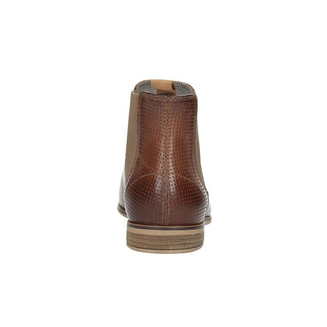 Skórzane botki typu chelsea zperforacją bata, brązowy, 596-4644 - 17