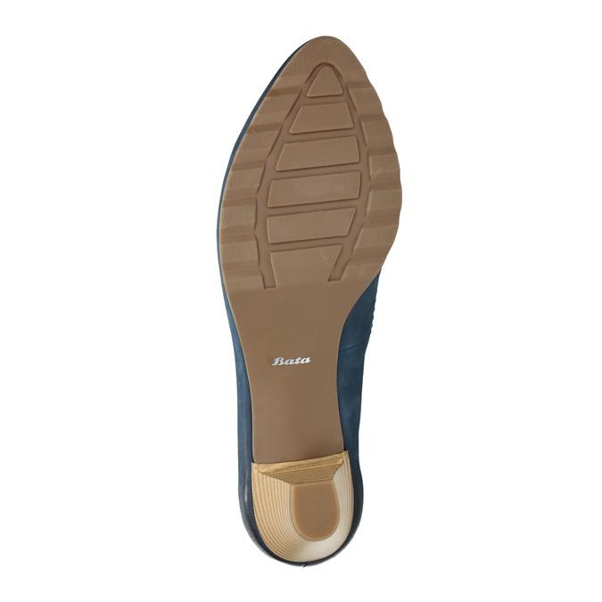Damskie skórzane czółenka bata, niebieski, 626-9639 - 26