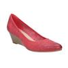 Skórzane czółenka na platformie bata, czerwony, 626-5638 - 13