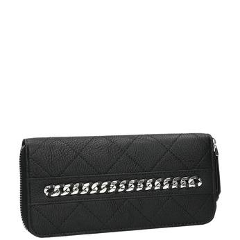 Pikowany portfel złańcuszkiem bata, czarny, 941-6146 - 13