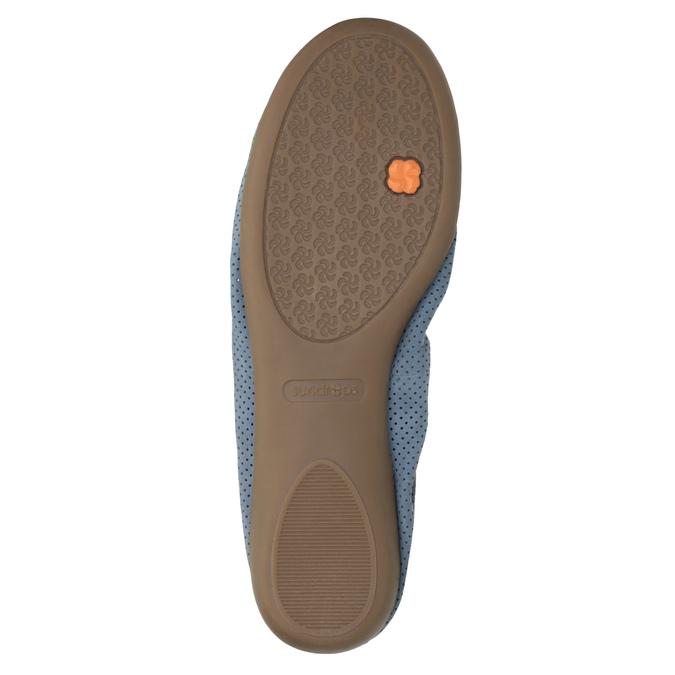 Skórzane niebieskie baleriny zelastyczną lamówką bata, niebieski, 526-9617 - 26