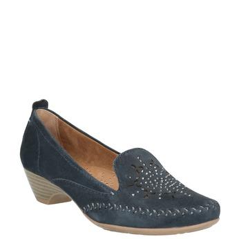 Skórzane mokasyny damskie oszerokościH bata, niebieski, 523-9603 - 13