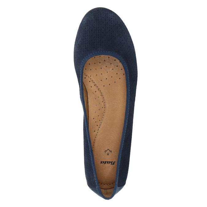 Skórzane czółenka oszerokościH bata, niebieski, 623-9601 - 19