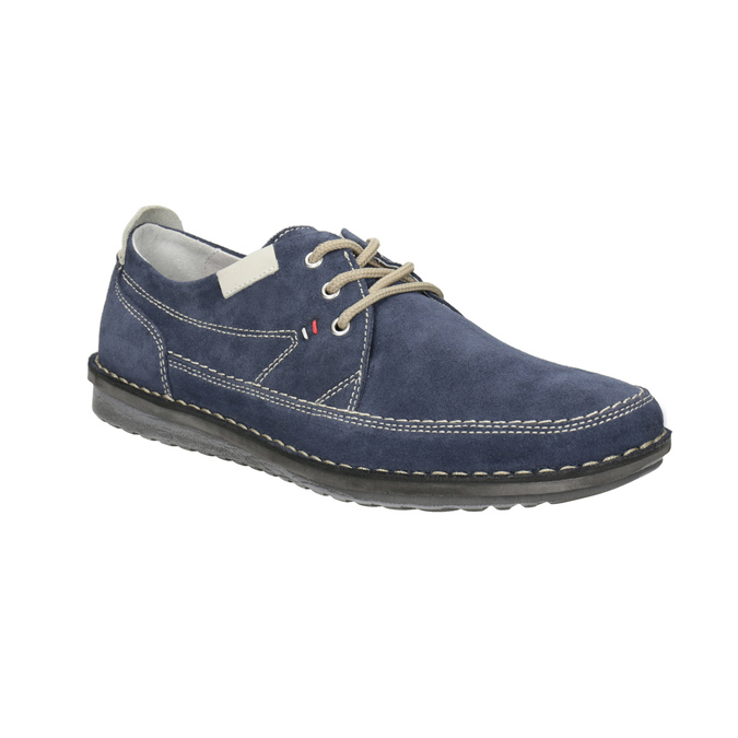 Nieformalne zamszowe półbuty bata, niebieski, 853-9612 - 13