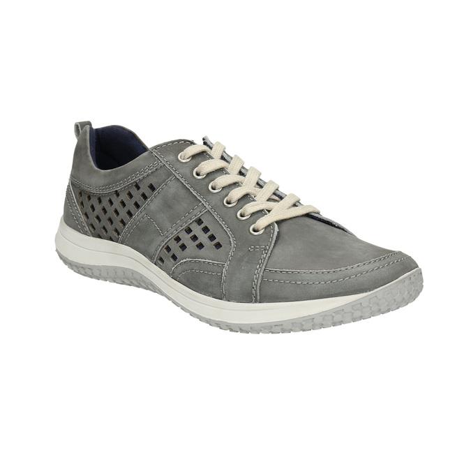 Skórzane buty sportowe z perforacją bata, szary, 846-2634 - 13