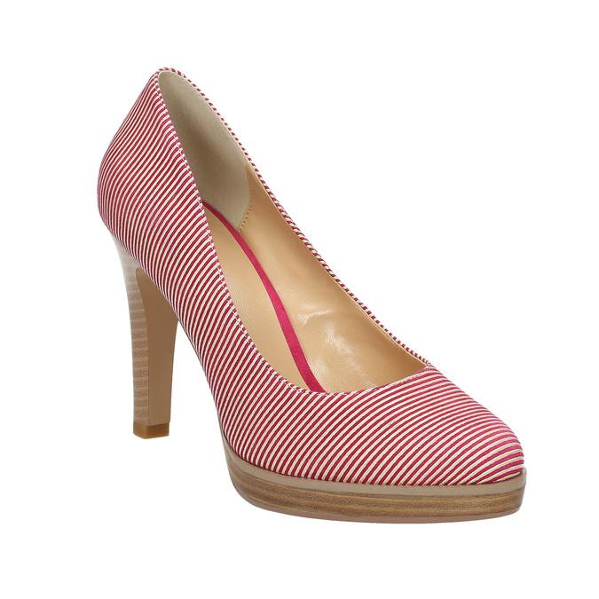 Skórzane czółenka wpaski bata, różowy, 726-5633 - 13