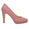 Skórzane czółenka wpaski bata, różowy, 726-5633 - 15