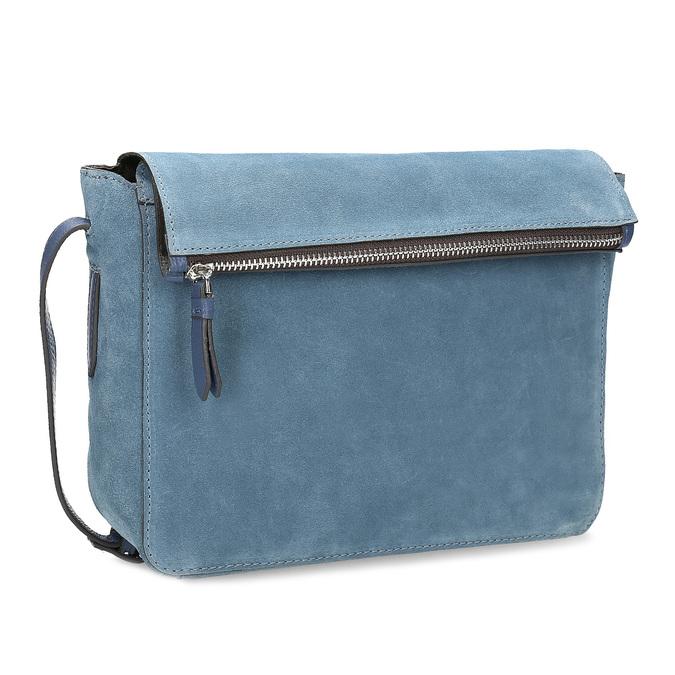 Niebieska skórzana torebka typu crossbody bata, niebieski, 963-9127 - 13