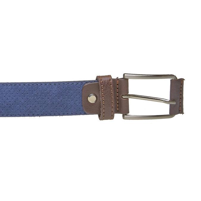 Męski skórzany pasek z perforacją bata, niebieski, 953-9325 - 26