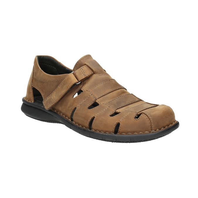 Brązowe skórzane sandały męskie bata, brązowy, 864-4600 - 13