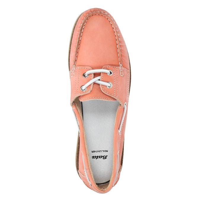 Skórzane mokasyny damskie bata, różowy, 526-5632 - 19