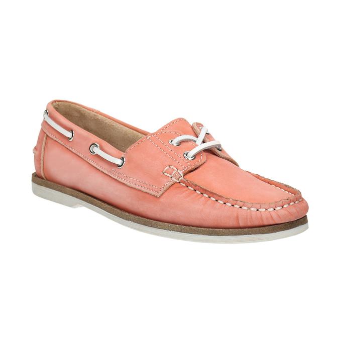 Skórzane mokasyny damskie bata, różowy, 526-5632 - 13