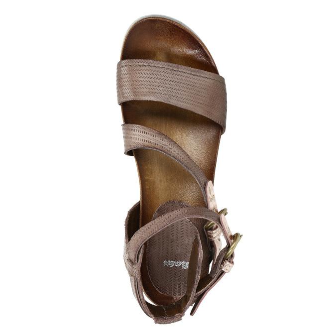 Sandały damskie na kontrastowej podeszwie bata, brązowy, 666-4604 - 19