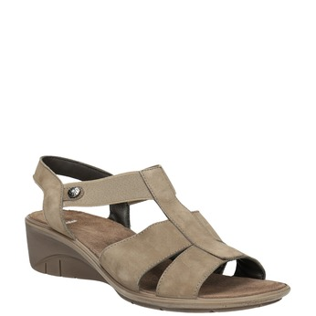 Skórzane sandały na koturnach bata, brązowy, 666-4609 - 13