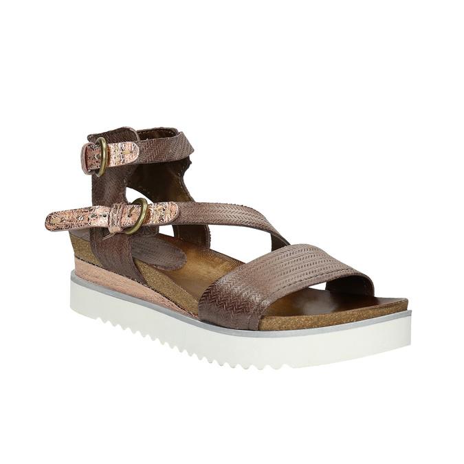 Sandały damskie na kontrastowej podeszwie bata, brązowy, 666-4604 - 13
