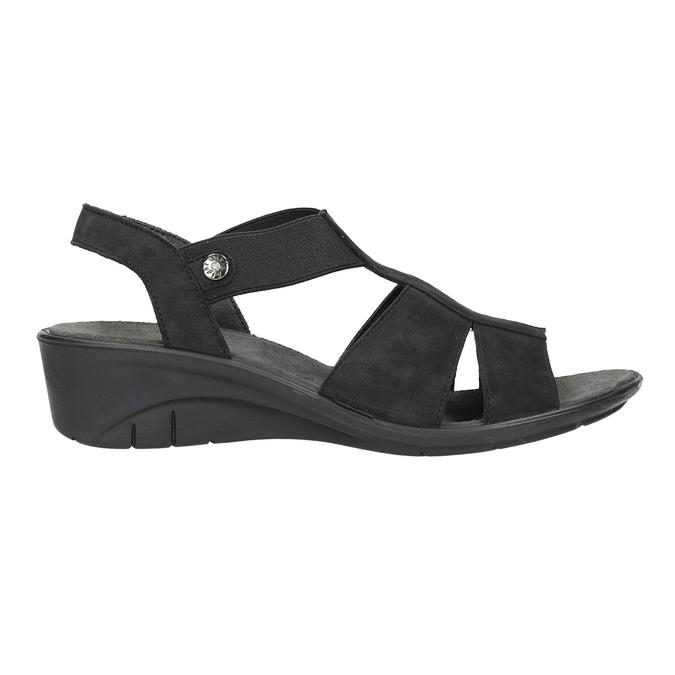 Skórzane sandały na koturnach bata, czarny, 666-6609 - 15