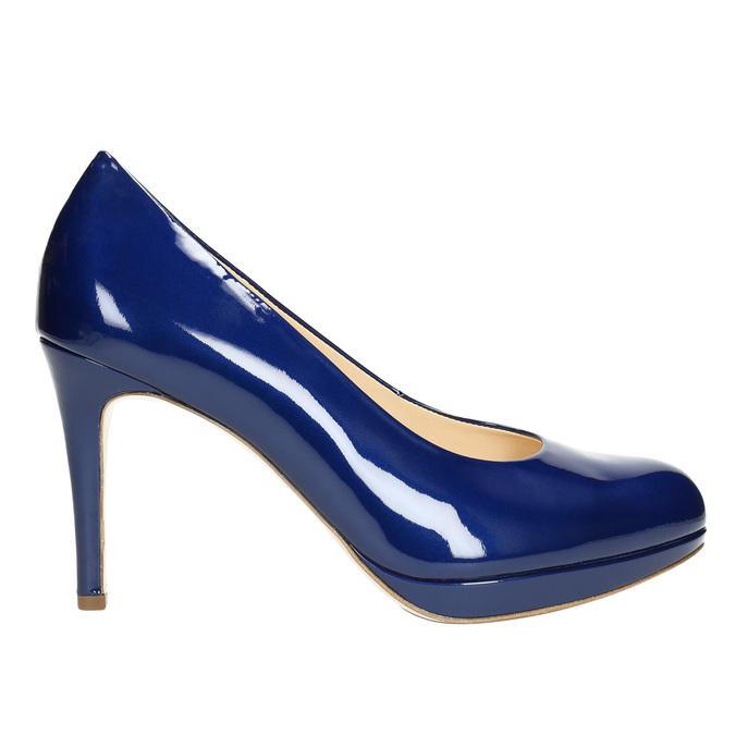 Lakierowane skórzane czółenka hogl, niebieski, 728-9400 - 15