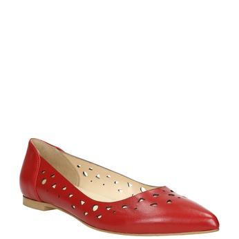 Czerwone skórzane baleriny bata, czerwony, 524-5604 - 13