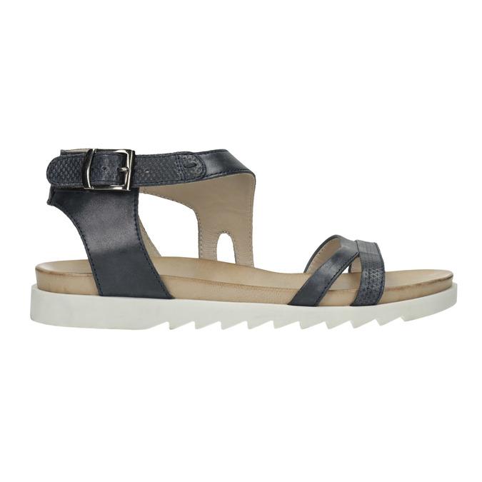 Skórzane sandały na kontrastowej podeszwie bata, niebieski, 566-9606 - 15