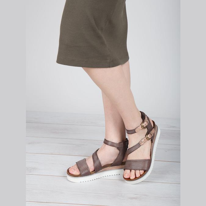 Sandały damskie na kontrastowej podeszwie bata, brązowy, 666-4604 - 18