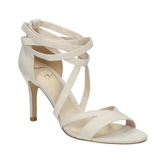 Sznurowane sandały na obcasach insolia, biały, 769-1613 - 13