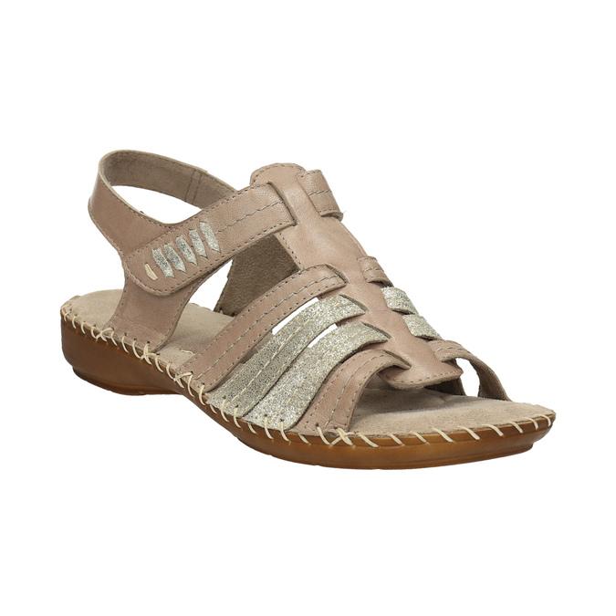 Skórzane sandały oszerokościH bata, brązowy, 566-4604 - 13
