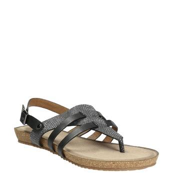 Korkowe sandały zfakturą skóry wężowej bata, czarny, 561-6606 - 13