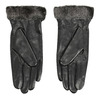 Skórzane damskie rękawiczki z futerkiem bata, czarny, 904-6112 - 16
