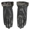 Skórzane damskie rękawiczki z futerkiem bata, czarny, 904-6112 - 26