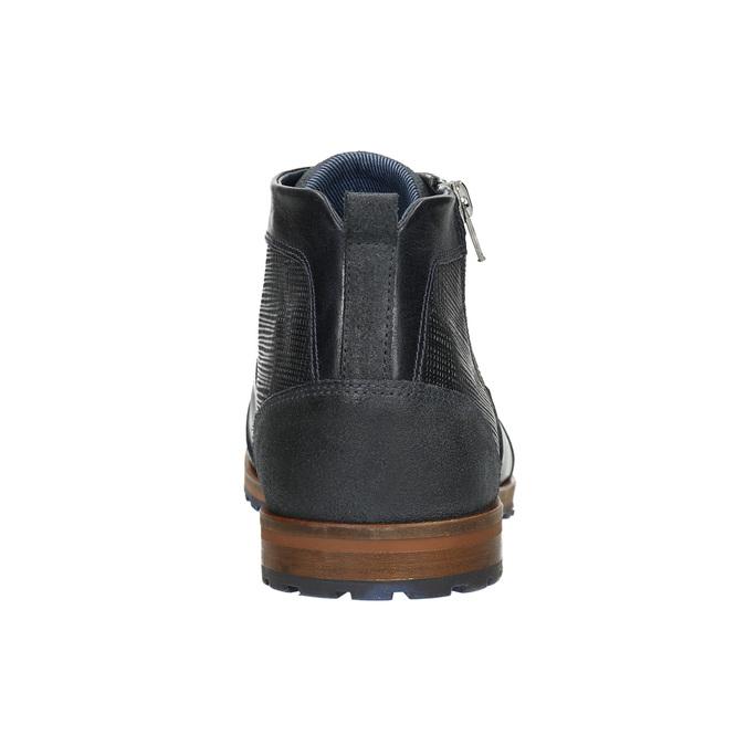 Skórzane buty za kostkę, zzamkami błyskawicznymi bata, niebieski, 826-9911 - 17