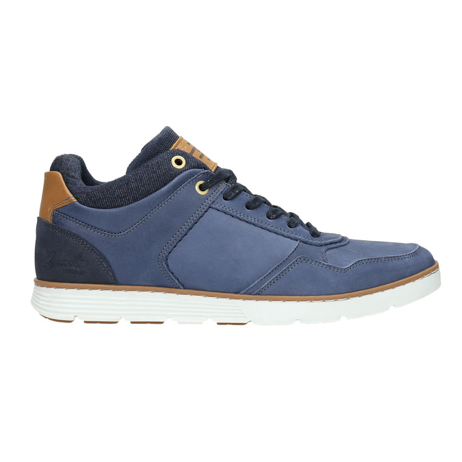 Skórzane trampki za kostkę bata, niebieski, 846-9641 - 15