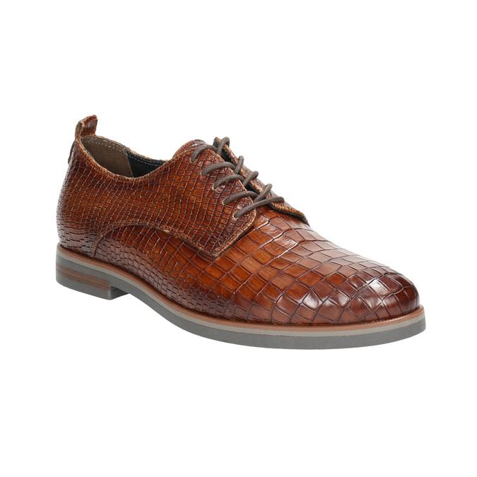 Skórzane półbuty zfakturą bata, brązowy, 526-4637 - 13
