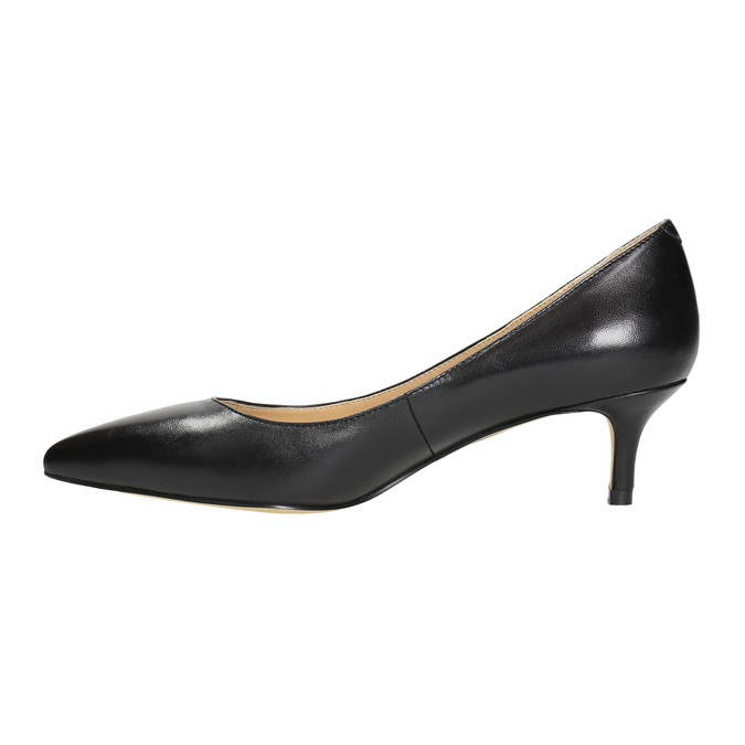 Skórzane czółenka damskie bata, czarny, 624-6640 - 26