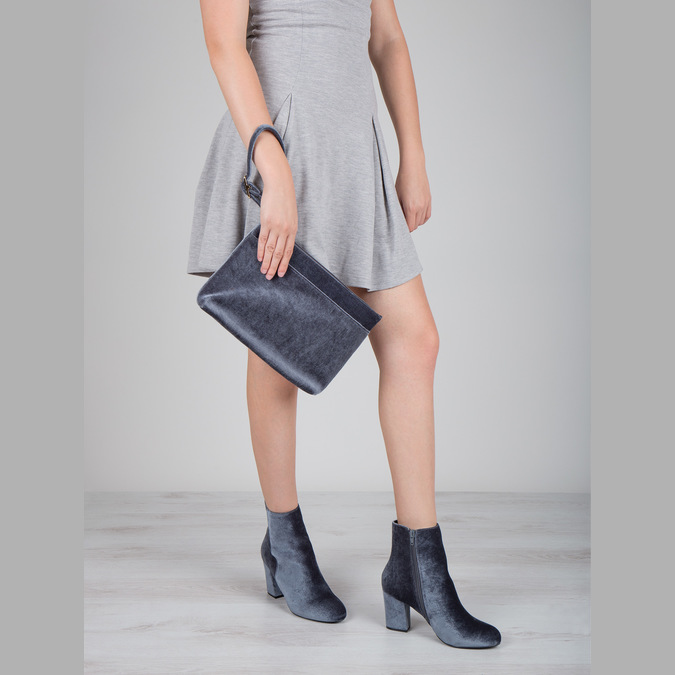 Aksamitne kozaki damskie bata, szary, 799-2616 - 18