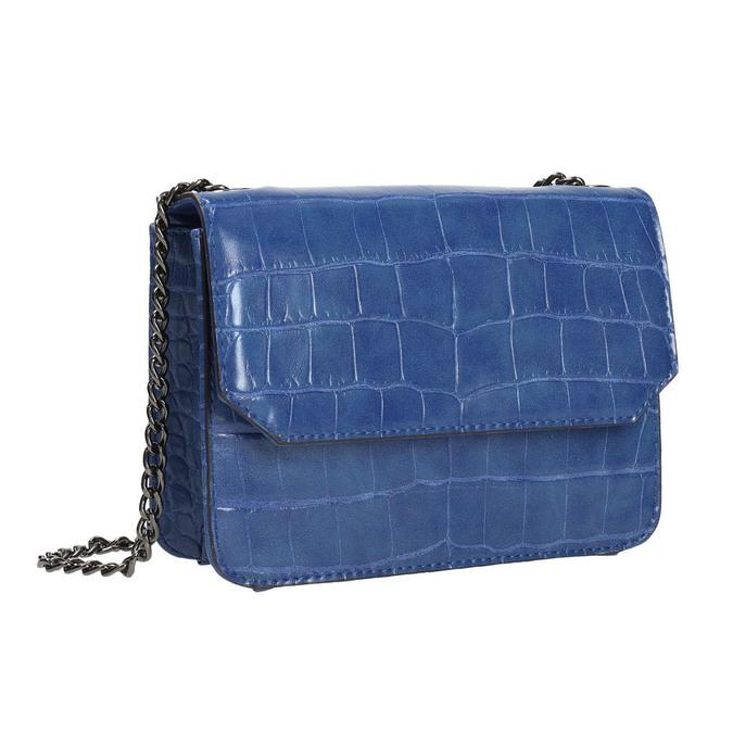 Niebieska torebka zfakturą bata, niebieski, 961-9753 - 13