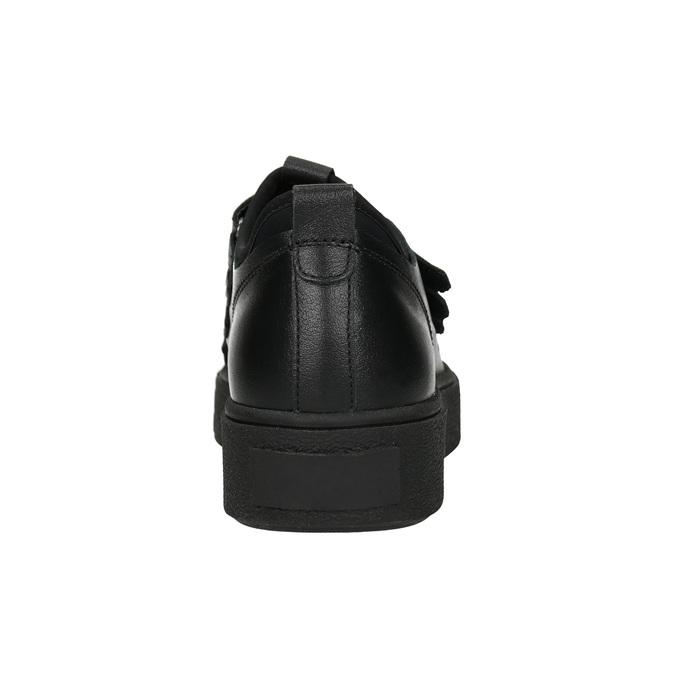 Czarne skórzane trampki na rzepy bata, czarny, 526-6646 - 16