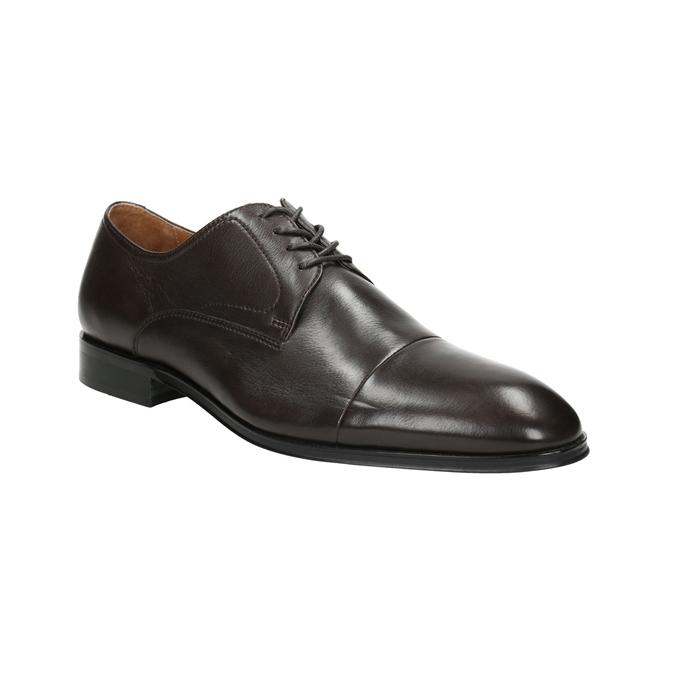 Brązowe skórzane półbuty typu angielki bata, brązowy, 824-4406 - 13